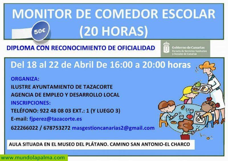 CURSO DE MONITOR DE COMEDOR ESCOLAR - Ayuntamiento de Tazacorte