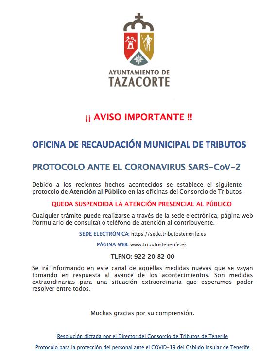 CIERRE DE LA OFICINA DE RECAUDACIÓN DE TRIBUTOS MUNICIPALES
