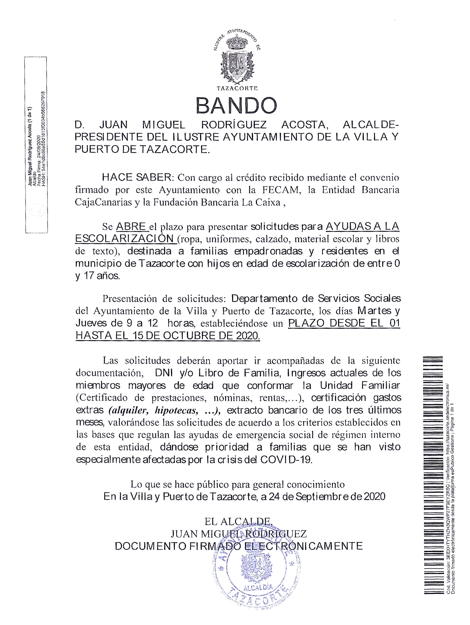 BANDO: Ayudas a las escolarización curso 20-21
