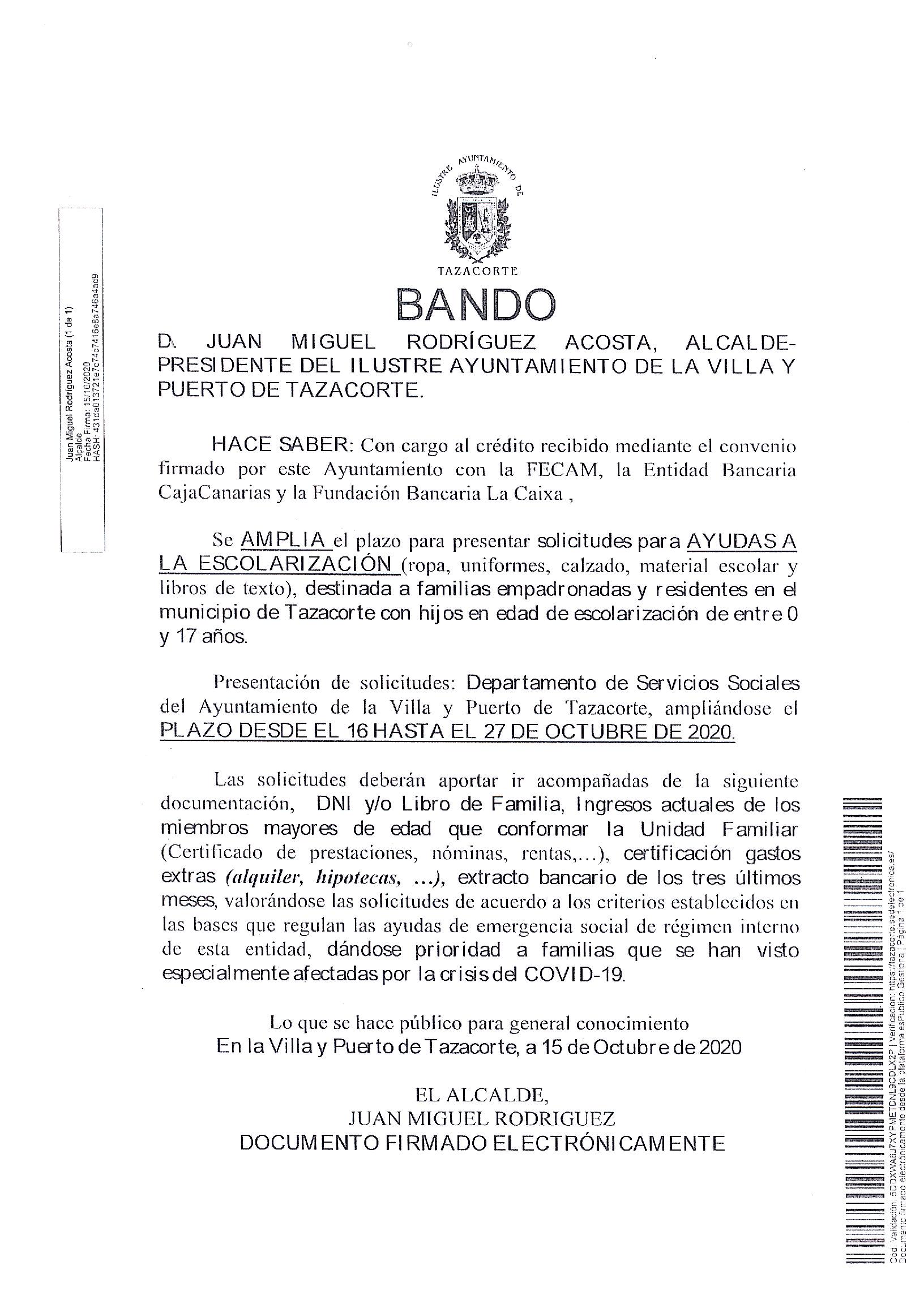BANDO:  AMPLIACIÓN PLAZO AYUDA ESCOLAR