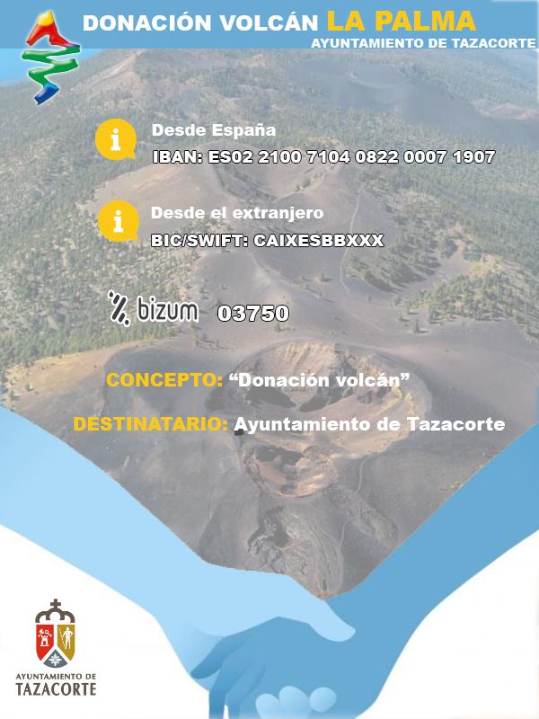 DONACIONES A LOS AFECTADOS POR EL VOLCÁN DE LA PALMA